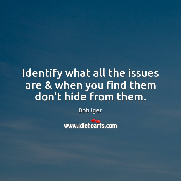 Image, Identify what all the issues are & when you find them don't hide from them.