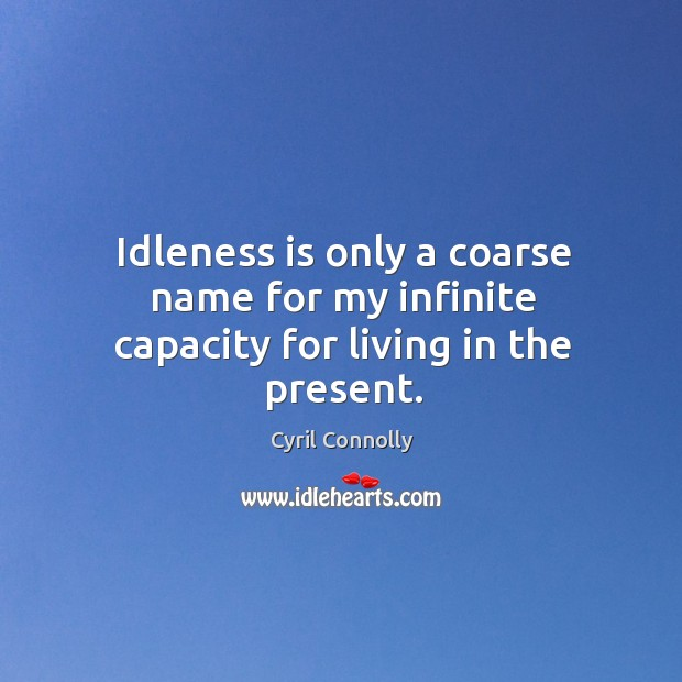 Image, Idleness is only a coarse name for my infinite capacity for living in the present.
