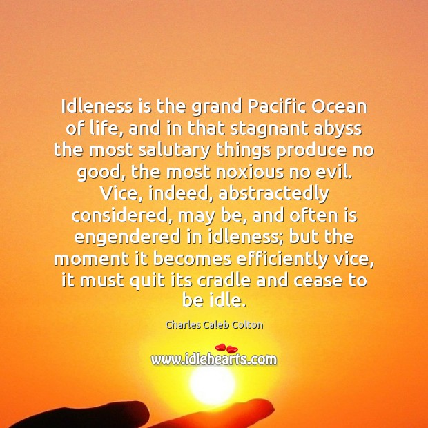 Idleness is the grand Pacific Ocean of life, and in that stagnant Image