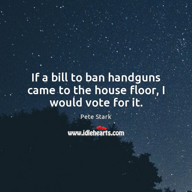 If a bill to ban handguns came to the house floor, I would vote for it. Image