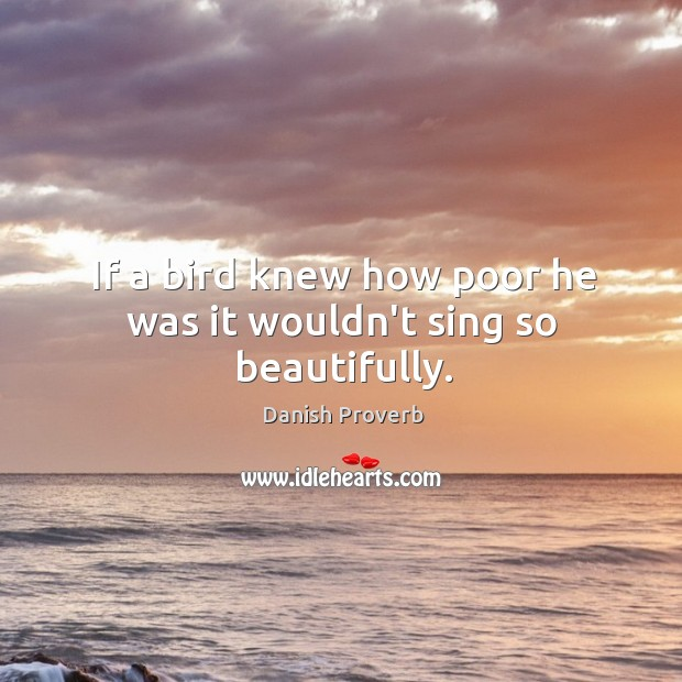Image, If a bird knew how poor he was it wouldn't sing so beautifully.