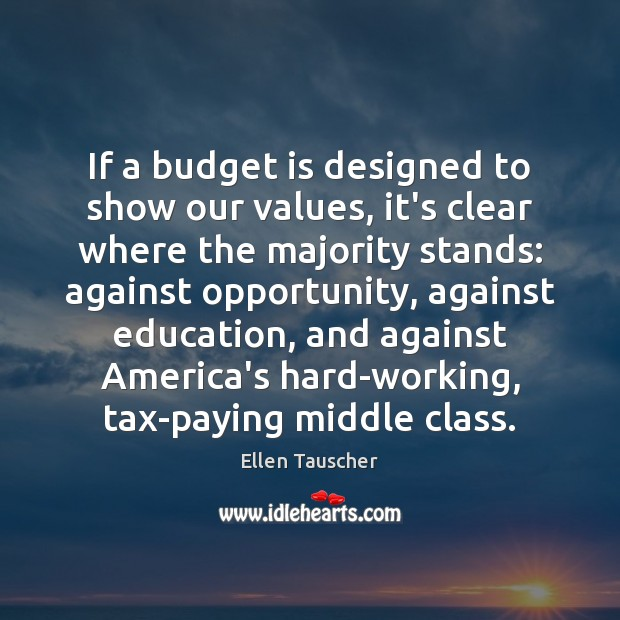 If a budget is designed to show our values, it's clear where Image