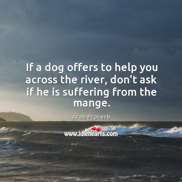 If a dog offers to help you across the river, don't ask if he is suffering from the mange. Arab Proverbs Image