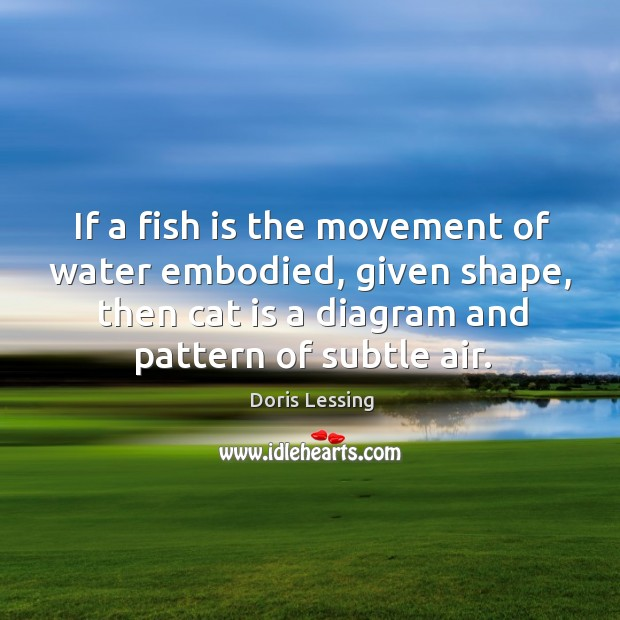 If a fish is the movement of water embodied, given shape, then cat is a diagram and pattern of subtle air. Doris Lessing Picture Quote