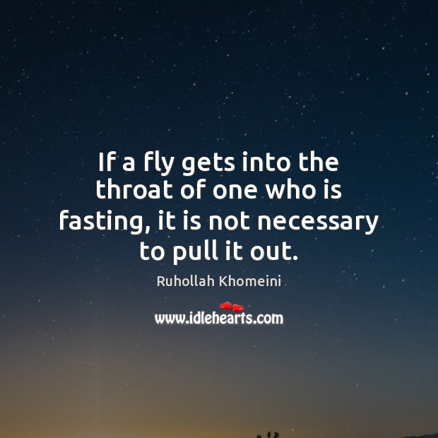 Image, If a fly gets into the throat of one who is fasting, it is not necessary to pull it out.