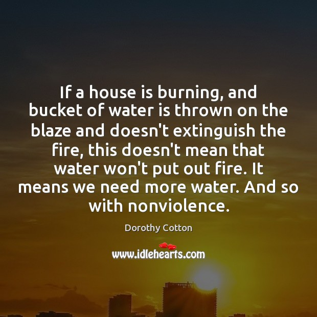 If a house is burning, and bucket of water is thrown on Image