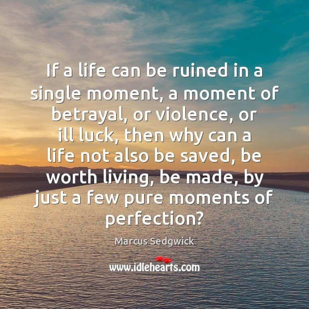 If a life can be ruined in a single moment, a moment Marcus Sedgwick Picture Quote