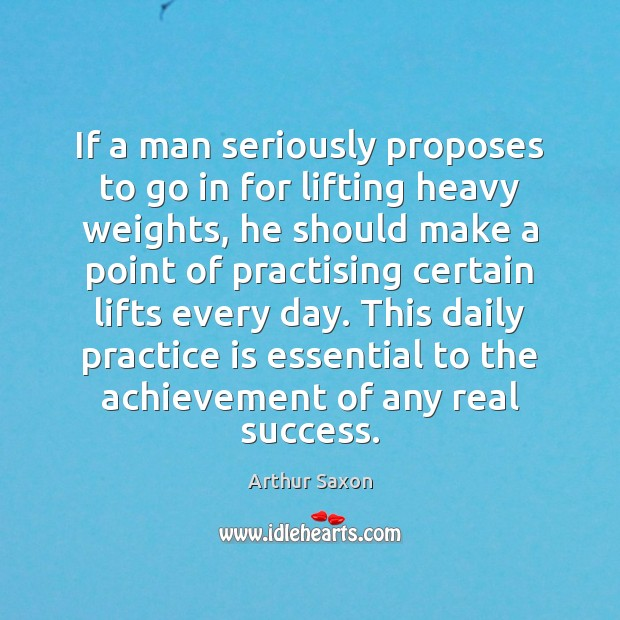 Image, If a man seriously proposes to go in for lifting heavy weights,