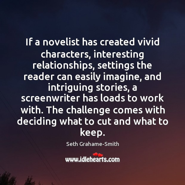 Image, If a novelist has created vivid characters, interesting relationships, settings the reader