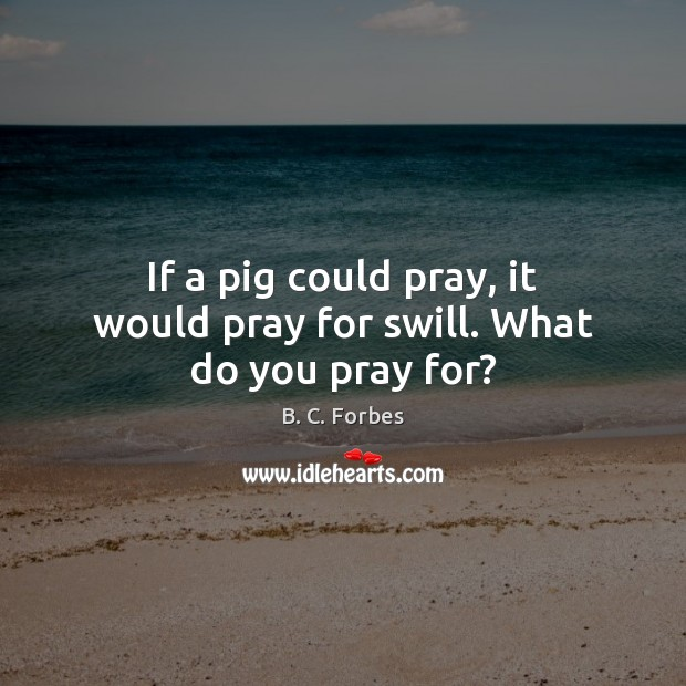 Image, If a pig could pray, it would pray for swill. What do you pray for?