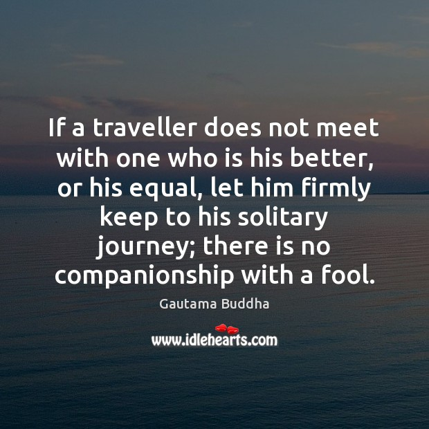 If a traveller does not meet with one who is his better, Fools Quotes Image