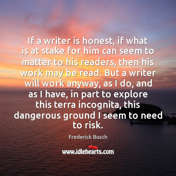 If a writer is honest, if what is at stake for him Image