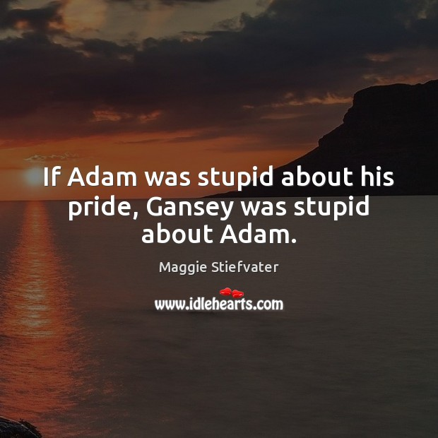 If Adam was stupid about his pride, Gansey was stupid about Adam. Image