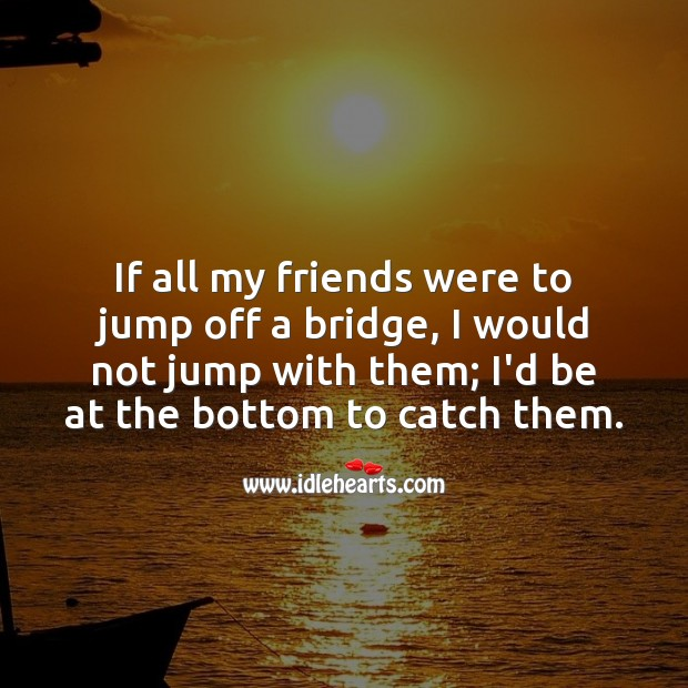 If all my friends were to jump off a bridge Friendship Messages Image