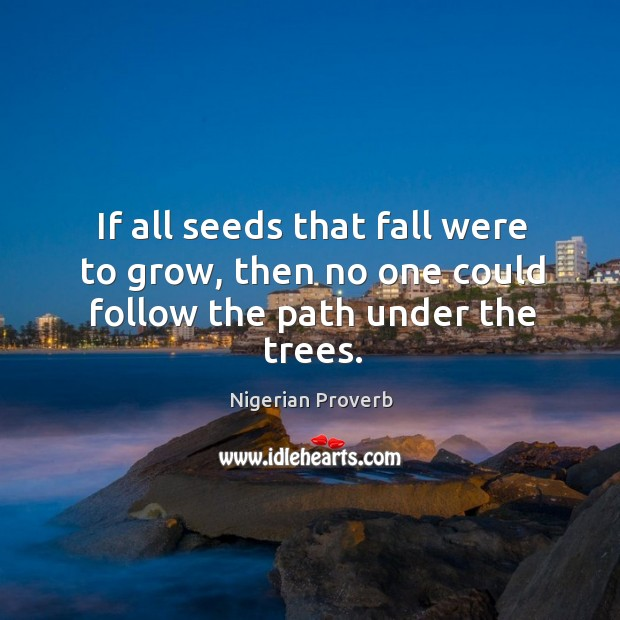 Image, If all seeds that fall were to grow, then no one could follow the path under the trees.