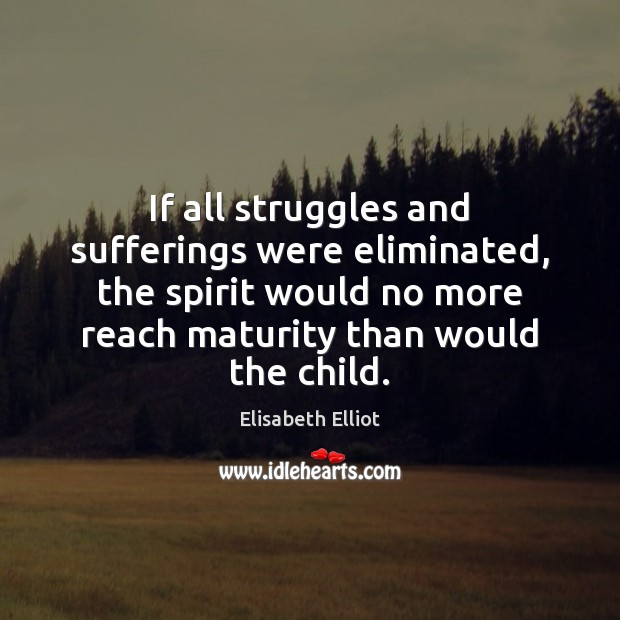 Image, If all struggles and sufferings were eliminated, the spirit would no more