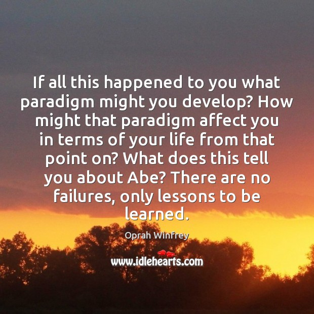 Image, If all this happened to you what paradigm might you develop? How