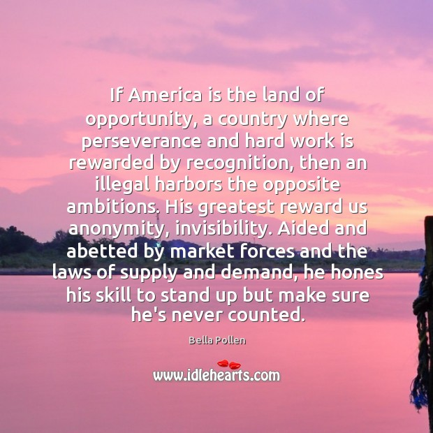 Image, If America is the land of opportunity, a country where perseverance and