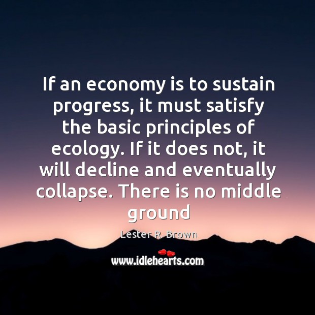 If an economy is to sustain progress, it must satisfy the basic Lester R. Brown Picture Quote
