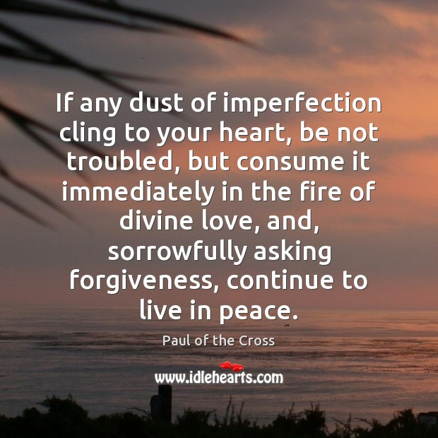 If any dust of imperfection cling to your heart, be not troubled, Paul of the Cross Picture Quote