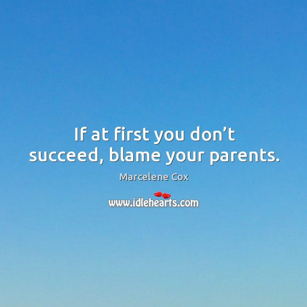 Image, If at first you don't succeed, blame your parents.