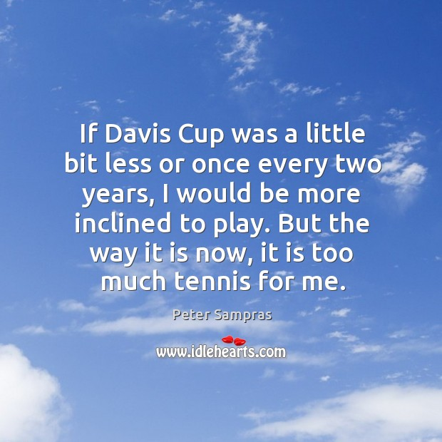 If davis cup was a little bit less or once every two years, I would be more inclined to play. Image