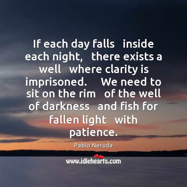 If each day falls   inside each night,   there exists a well   where Image