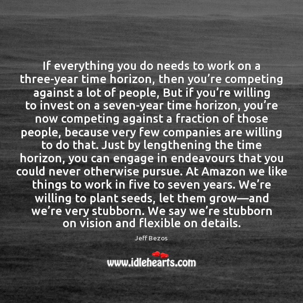 If everything you do needs to work on a three-year time horizon, Image