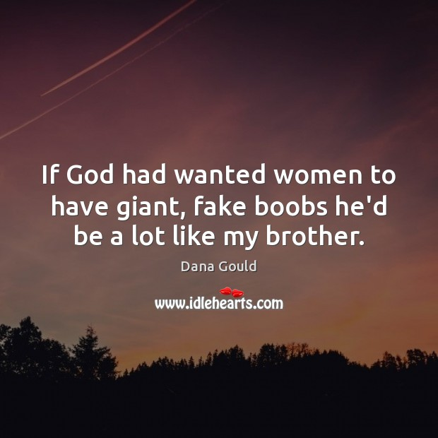 If God had wanted women to have giant, fake boobs he'd be a lot like my brother. Image