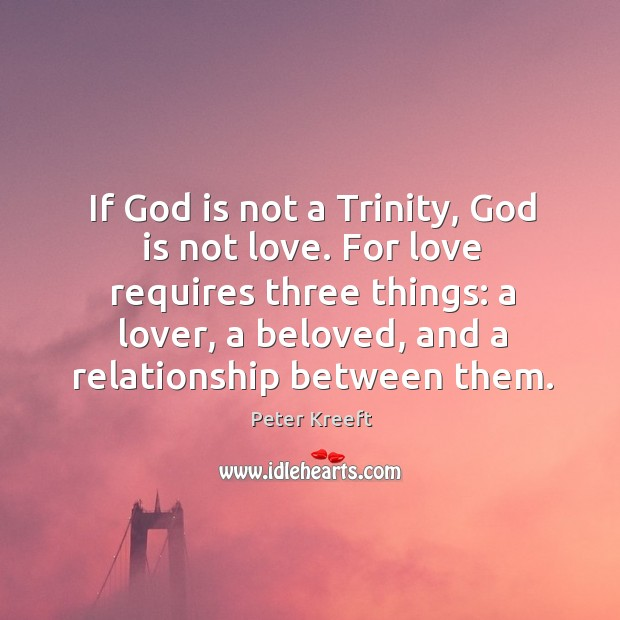 If God is not a Trinity, God is not love. For love Image