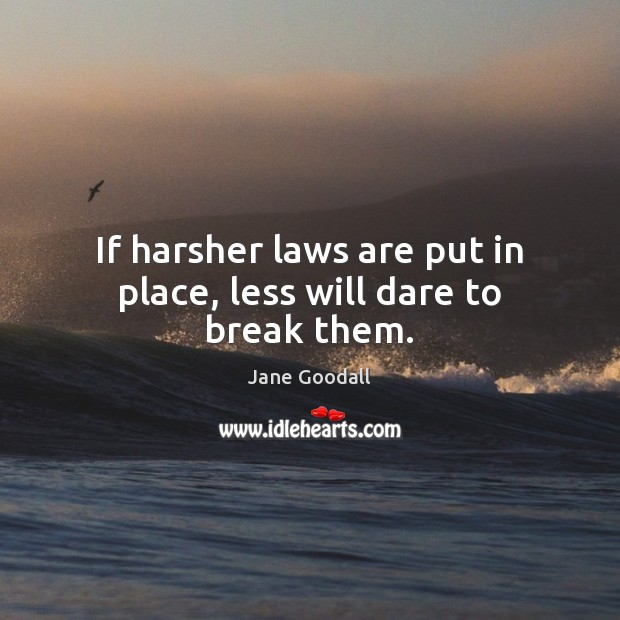 Image, If harsher laws are put in place, less will dare to break them.
