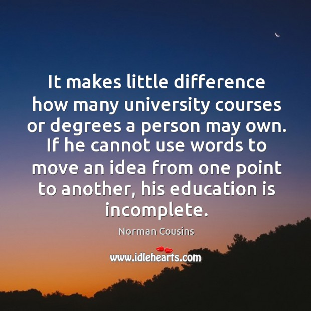 If he cannot use words to move an idea from one point to another, his education is incomplete. Image