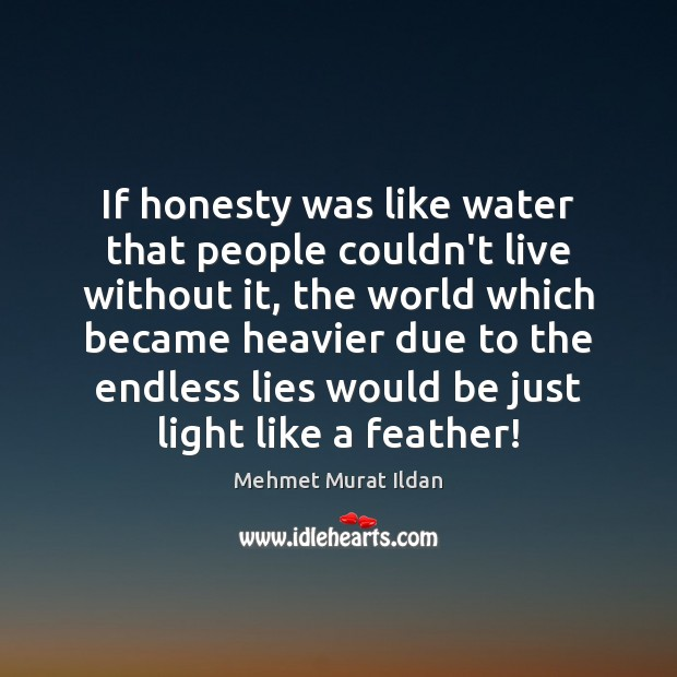 If honesty was like water that people couldn't live without it, the Mehmet Murat Ildan Picture Quote
