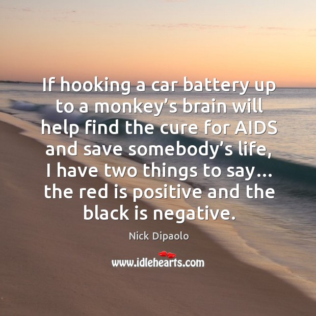 If hooking a car battery up to a monkey's brain will help find the cure for aids and save somebody's life Image