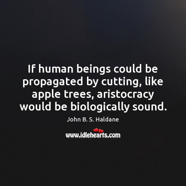 If human beings could be propagated by cutting, like apple trees, aristocracy John B. S. Haldane Picture Quote