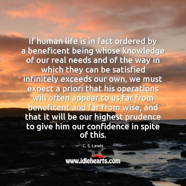 Image, If human life is in fact ordered by a beneficent being whose
