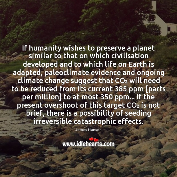 If humanity wishes to preserve a planet similar to that on which James Hansen Picture Quote