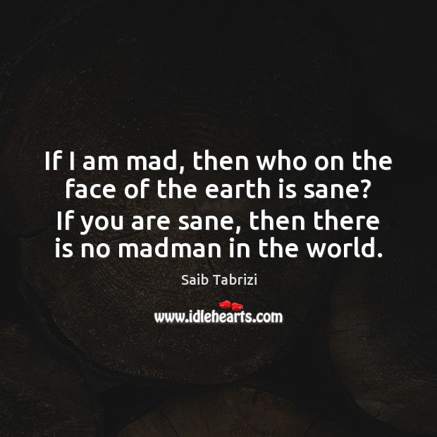 If I am mad, then who on the face of the earth Image
