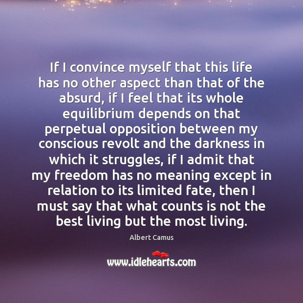 Image, If I convince myself that this life has no other aspect than