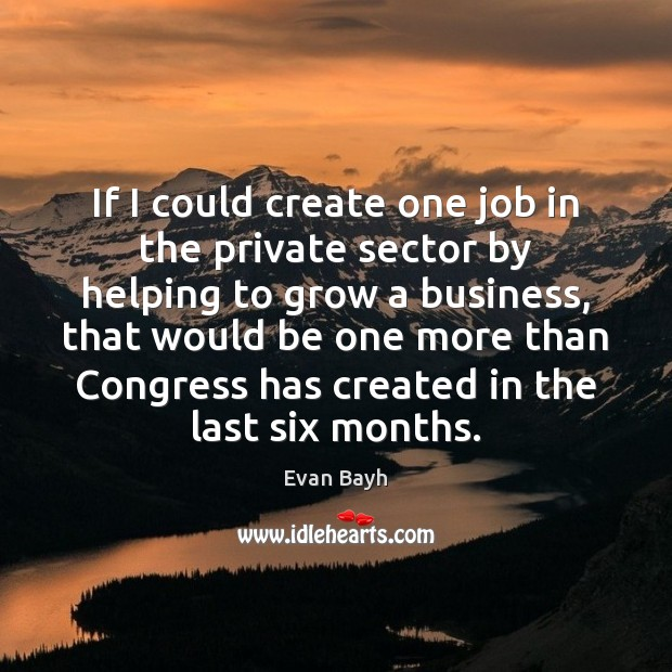 If I could create one job in the private sector by helping Image