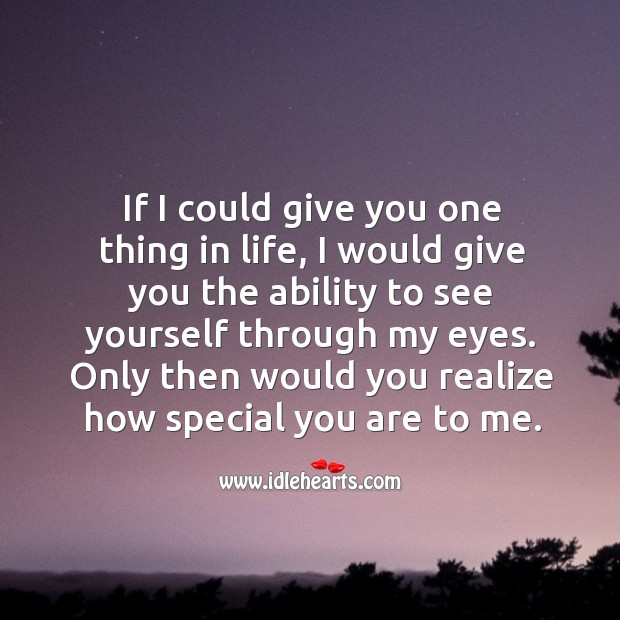 If I could give you one thing in life, I would give you the ability to see yourself through my eyes. Realize Quotes Image