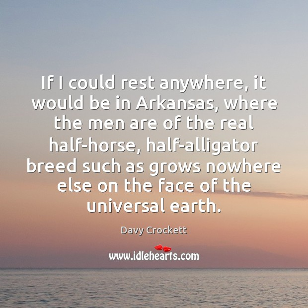 If I could rest anywhere, it would be in Arkansas, where the Image