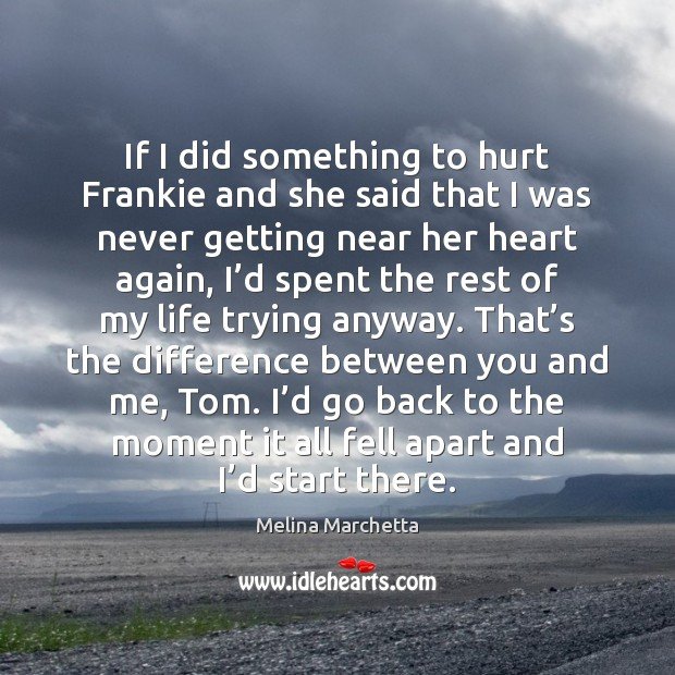 If I did something to hurt Frankie and she said that I Melina Marchetta Picture Quote