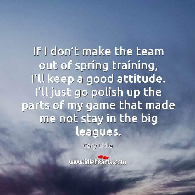 If I don't make the team out of spring training, I'll keep a good attitude. Image