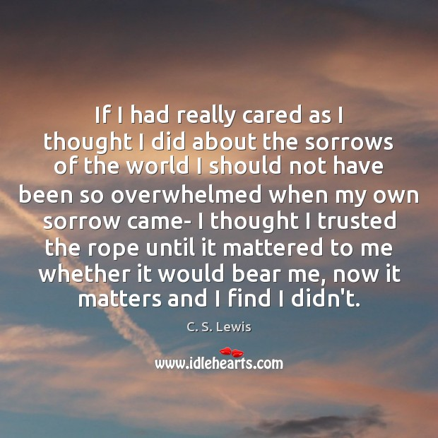 If I had really cared as I thought I did about the C. S. Lewis Picture Quote