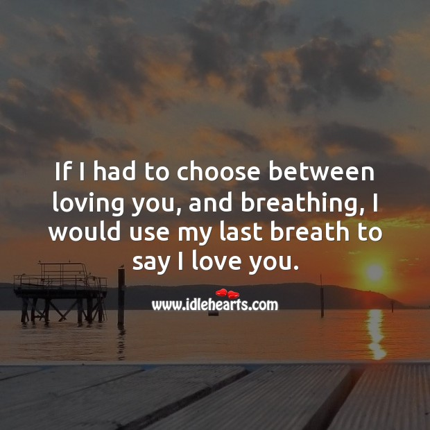 Image, If I had to choose between loving you, and breathing, I would use my last breath to say I love you.