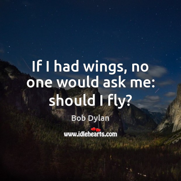 Image, If I had wings, no one would ask me: should I fly?