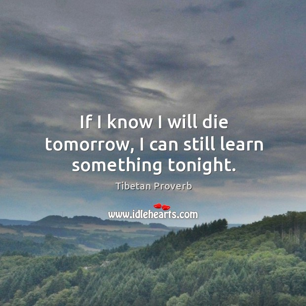 If I know I will die tomorrow, I can still learn something tonight. Tibetan Proverbs Image