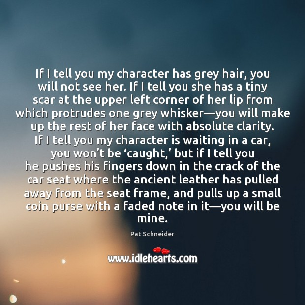 If I tell you my character has grey hair, you will not Character Quotes Image