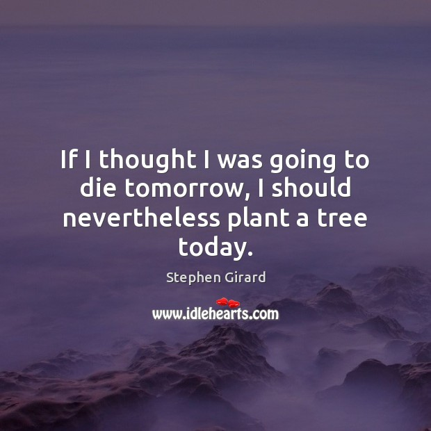 If I thought I was going to die tomorrow, I should nevertheless plant a tree today. Image